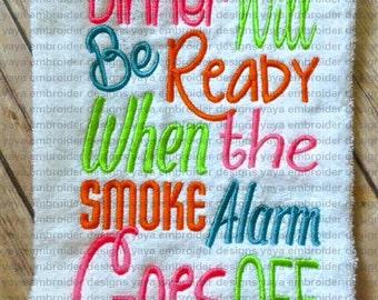 Smoke Alarm Towel Embroidery Design