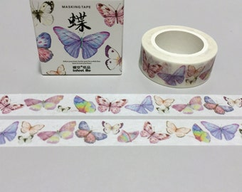 Dancing butterfly washi tape colorful butterfly sticker tape diy butterfly theme notebook personalized journal butterfly thank you gift card