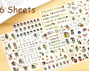 Girl daily life sticker girl diary sticker life planner sticker Cute cartoon holiday weather happy face sad face mood wording sticker set