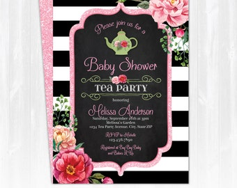 Tea Party Baby Shower Invitation - Baby Shower Tea Party Invitations - Baby Shower Invitations - EDIT at home NOW with Adobe Reader!