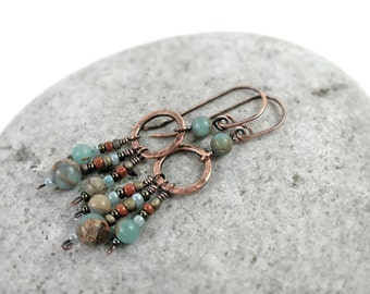 Aqua Terra Jasper Dangle Earrings, African Blue Opal, Wire Wrapped, Copper, Sterling Silver, Heart Chakra, Gipsy, Rustic, Boho, Earthy