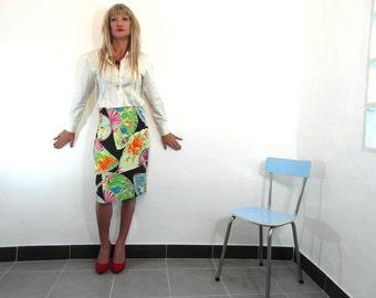 Pencil skirt by Zapa, France, multicolour pattern, cotton viscose, size M, French vintage, vintage clothing, retro clothes.
