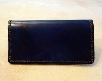 Handmade Blue Leather Checkbook Cover - Leather Wallet