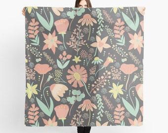 Peach Wildflower Scarf - Peachy Keen Wildflowers - Sheer Fashion Scarf - Peach, Coral, Mint Green, Yellow