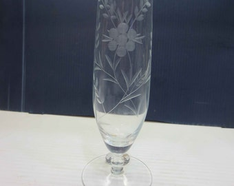 Made in Poland Clear Etched Glass Bud Vase