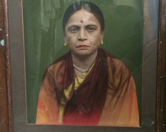 Vintage Indian Hand Tinted Black and White Photograph of Older Woman