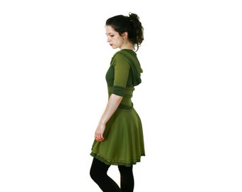 ARCHER - Hooded Dress -COLOR OPTIONS- Full Circle Dress  Raglan 3/4 Sleeves -Limited Edition, 1970s Elf, Skater dress- Custom Made to Order