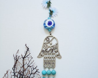 Wall hanging hands of fatima wall hanging evileye wall hanging hamsa hand turquoise wall hanging, amulet, home decor, negative energy cather