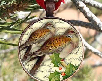 Twelve Days of Christmas Two Turtle Doves Christmas Ornament Glass set in a 30mm Copper Finish Pendant Tray With Ribbon