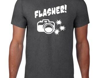 Flasher Tshirt, Funny T Shirt, Ringspun Cotton, Funny TShirt, Camera, Funny Tee, Photography Gift, Photographer Tshirt, Mens Plus Size