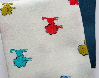 Cotton and Steel Double Gauze  fabric bundle, half yards - Cotton + Steel, Clover, Alexia, animal double gauze, solid double gauze