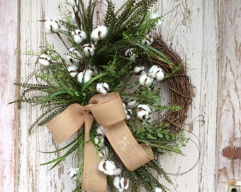 Cotton Wreath, Cotton Boll Wreath, Preserved Cotton Wreath,Summer Wreath, Year round Wreath, Primitive Wreath, Front door Wreath,Door Wreath