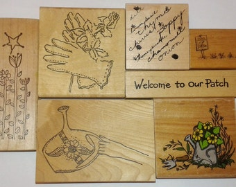 Destash Rubber Stamp Lot Gardening Herbs Botanical Garden Gloves Watering Can Peas Flowers Vine Plants Nature Rubber Moon Northwoods Floral