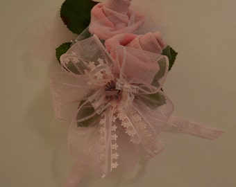 Baby Sock Corsage, Baby Girl Shower Corsage for Mother To Be/ Grandmother, Unique Pin or Wrist Corsage, Baby Shower or Baby Reveal Corsage
