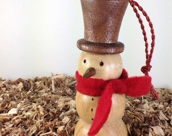 Hand Crafted Snowman Ornament - Let it Snow on My Turned Snowman!