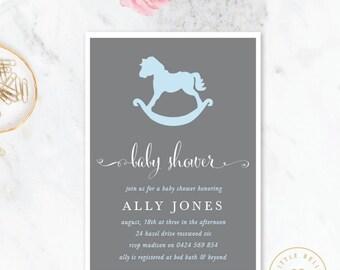 Boy Baby Shower Invitation / Rocking Horse Baby Shower Invite / Blue