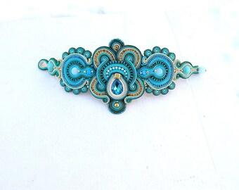 Turquoise Cuff Bracelet Unique Emerald Statement Soutache Bracelet Handmade Soutache Jewelry Statement Handmade Bracelet