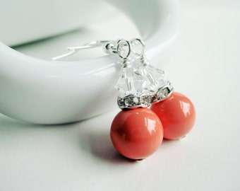 Orange coral earrings, Swarovski crystal pearl, rhinestone jewelry shop, pearl dangle, tangerine, retro glam