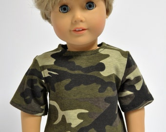 Camouflage Camo  Boy Shirt made to fit American Girl   18 inch Doll Clothes  Boy Doll Clothes