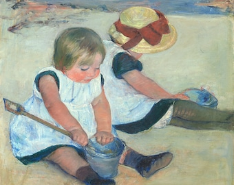 "Mary Cassatt : ""Children Playing on the Beach"" (1884) - Giclee Fine Art Print"