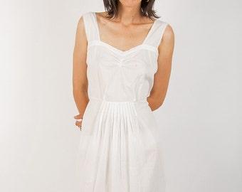 Romantic White Cotton Dress, Light Long Sundress, Simple Delicate Boho Wedding Dress, M