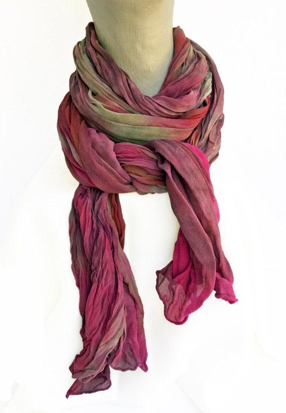 "Burgundy scarf - silk chiffon scarf - dusty rose, cranberry, taupe, fuchsia, purple - crinkle chiffon - fall scarf - 17"" x 74""-LARGE (B)"
