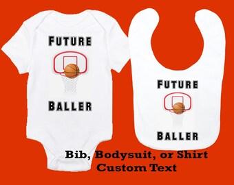 Future baller etsy basketball baby bodysuit bib toddler shirt personalized sports design future baller negle Image collections