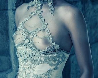 Greek goddess corset vintage haute couture golden lace