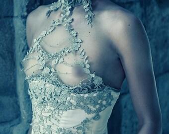 Greek goddess corset Fantasy Couture Fantasy Costume Lingerie Romantic  Burlesque Showgirl Cosplay Marie antoinette Stage wear Honeymoon