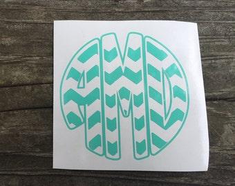 Chevron Custom Circle Monogram Decal-Personalized decal, vinyl decal, Preppy Monogram,