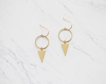 Circle & Triangle Minimal Brass Earrings