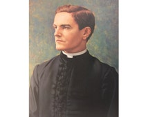 Vintage Canvas Portrait, Priest, Father McGivney, Founder of Knights of Columbus, Vintage Wall Hanging, Catholic Artwork