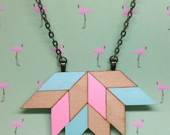 Geometric blue pink pastel lotus lasercut wood necklace with gunmetal black chain