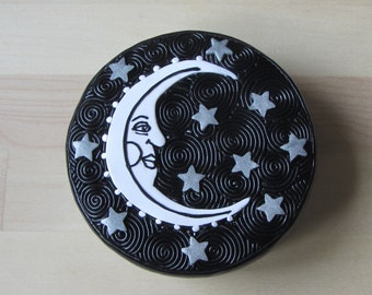 """Moon and Stars Upcycled Polymer Filigree 3.5"""" Round Candy Tin, Altered Tin, Storage Tin, keepsake, gift box, pill container, jewelry box"""