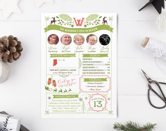 Year in Review Christmas Photo Cards - Printable Holiday Cards - Santa