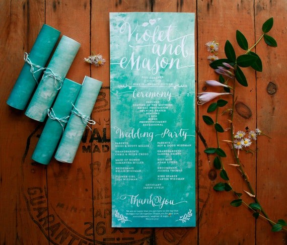 Rolled wedding programs in your wedding colors - Unique program idea - watercolor ceremony programs - printable programs - Violet
