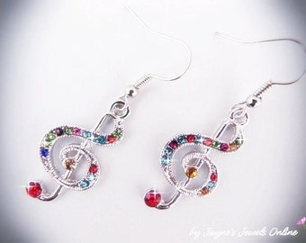 Music Note Earrings, Treble Clef, Colourful Rhinestones, Silver Earrings, Music, Other colours too