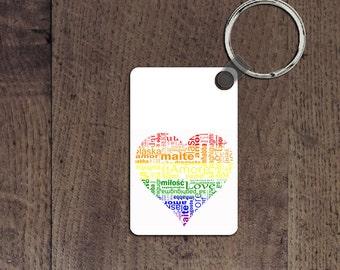 International love heart key chain