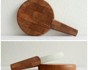 Vintage Dansk Cutting Board with Knife, Midcentury Modern Cheese Cutting Board, Danish Modern Teak Wood, Jens Quistgaard Cutting Board Knife