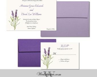 Lavender Wedding Invitations, Elegant Wedding Invites, Vintage Floral Announcements- Lilac - DEPOSIT