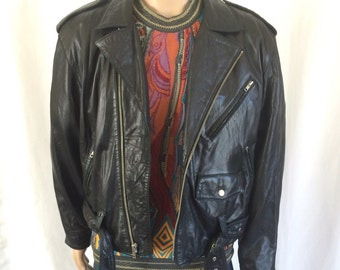 1980s Tannery West Buttery Leather Motorcycle Jacket Sz. L