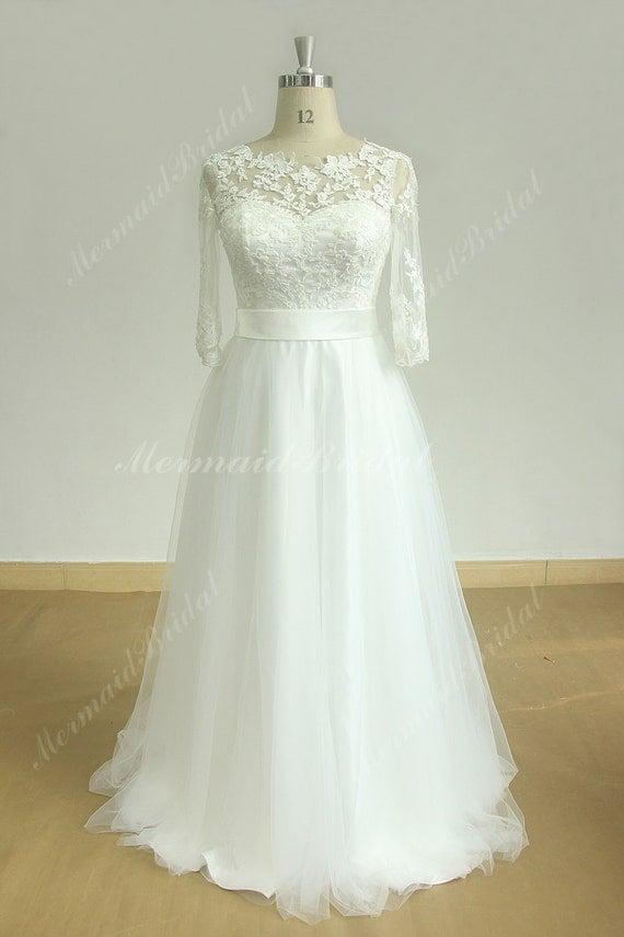 Flowy Ivory A Line Boho Lace Wedding Dress With Middle Calf