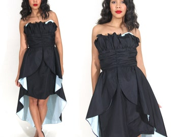 Vintage 80s Avant Garde Black Blue Strapless Ruffle Party Dress Train Glam Holiday