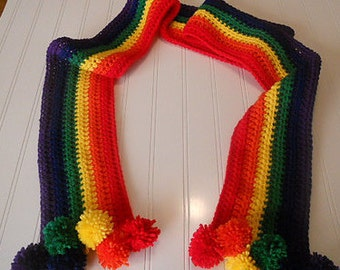 Rainbow Scarf of Happiness - Bright Primary Rainbow Colors with Pom Poms
