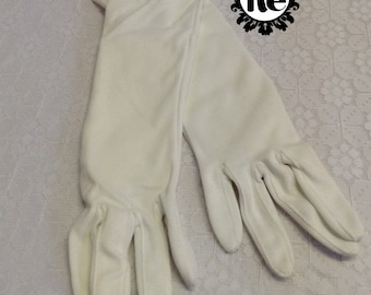 Vintage Ladies Gloves Long White Gloves with Pearl Closure Age: 1950's - 1960's No. 76