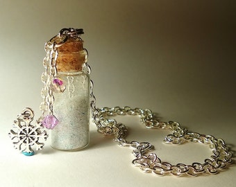 Build a Snowman Vial Necklace - Disney Frozen Inspired - Handmade Corked Glass Bottle - Silver Snowflake Charms