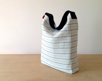 Hobo bag, vintage hobo bag, striped hobo bag, linen hobo bag, fabric hobo bag, bucket bag, handmade hobo bag, limited edition bag.