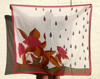 GRÈS!!! Striking 1970s 'Grès' large stylised floral and raindrop print cotton scarf with solid borders and logo