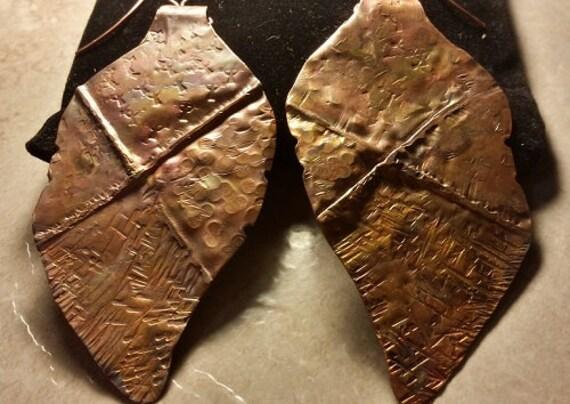 Form Fold Copper Leaf Earrings