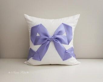 White Pillow, Decorative Pillow, Bow Pillow, Wedding Pillow, Gifts, Throw Pillow Cover, Baby Nursery Pillow, Purple Pillow, Girls Bedroom